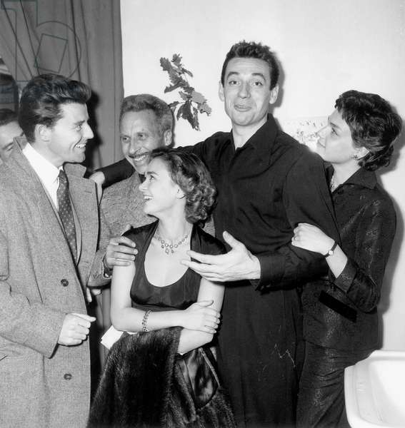 French Actors Gerard Philipe, Pierre Brasseur, Daniele Delorme, Yves Montand and Simone Signoret October 6, 1953 (b/w photo)