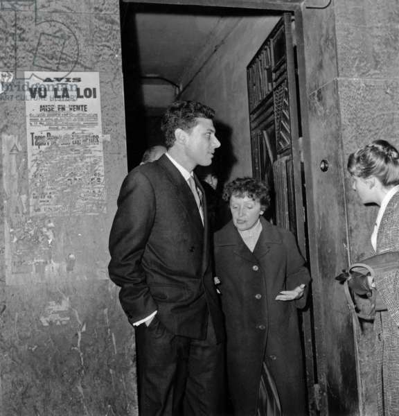 Eorges Moustaki and Lover Edith Piaf in Paris October 09, 1958 After Concert of Charlesaznavour at The Alhambra (b/w photo)