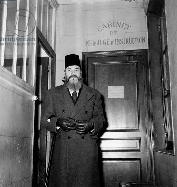 Ahmed Messali Hadj (1898-1974) Algerian Nationalist Leader November 9, 1948, Paris (b/w photo)
