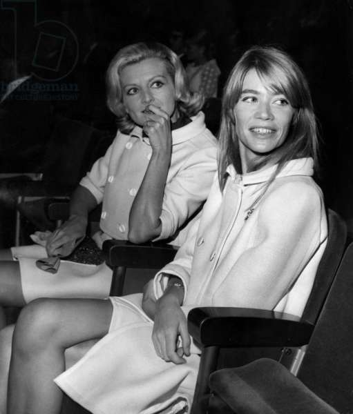 The French Singer Francoise Hardy and Colette Perier (Francoisperier'S Wife), during Yvesmontand'S One Man Show, in Olympia, in Paris, on September 20Th, 1968 (b/w photo)