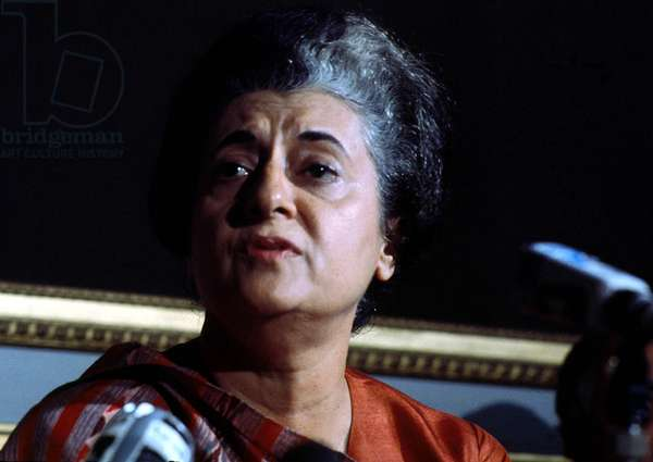 Indira Gandhi (1917-1984) Indian Prime Minister, here during A Press Conference in Paris on November 9, 1971 (photo)