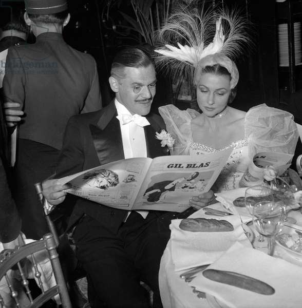 Fiftieth anniversary of Maxim's (restaurant), Paris, June 1st, 1949 : Mr Nepo and Yvette Chauvire (b/w photo)