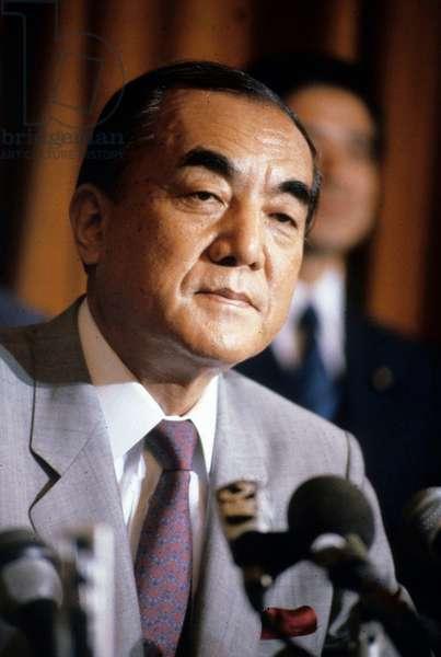 Japanese Prime Minister Yasuhiro Nakasone in Paris in 1985 (photo)