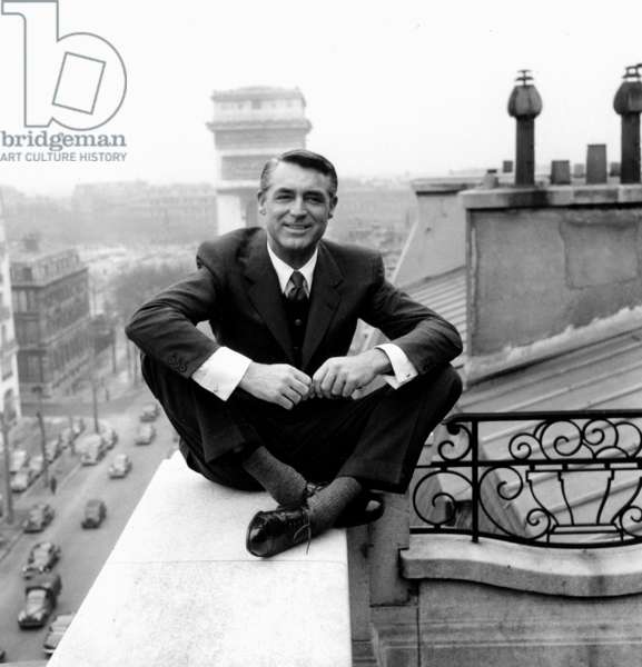 American Actor Cary Grant (1904-1986) in Paris (Hotel Raphael) on March 29, 1956 (b/w photo)