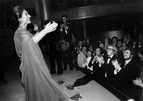 Maria Callas on Stage at Theatre Des Champs Elysees in Paris December 8, 1973 (b/w photo)