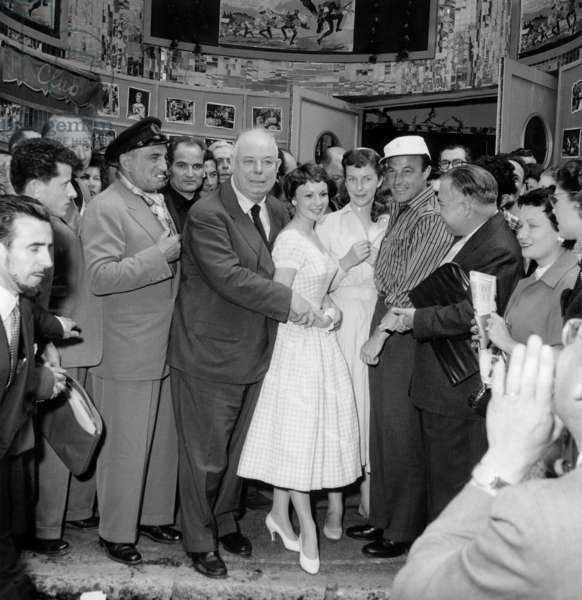 Jean Renoir With Charles Vanel, Francoise Arnoul, Betsy Blair and Gene Kelly on May 8, 1955 at Cannes Festival After Screening of Film