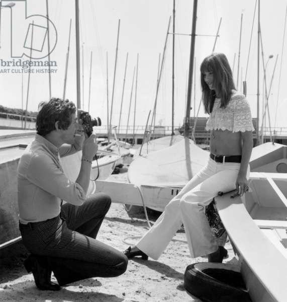 Serge Gainsbourg and Jane Birkin at Cannes Film Festival on May 19, 1969 (b/w photo)