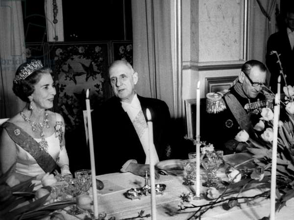 King Frederic Ix and Queen Ingrid of Denmark Dining With President Charles De Gaulle on April 6, 1965 in Paris (b/w photo)