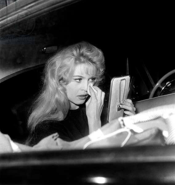 Actress Brigitte Bardot Putting Some Make-Up on Set of Film in Case of Adversity Love Is My Profession February 2, 1958 (b/w photo)