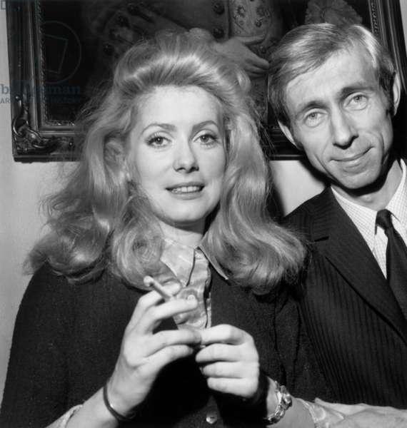 "Catherine Deneuve and Director Michel Deville Who Won Louis Delluc Prize For Film ""Benjamin"" January 13, 1968 (b/w photo)"