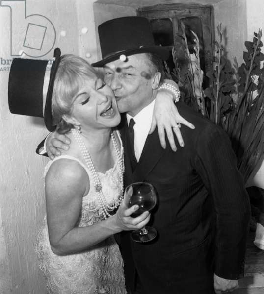 French Singer Line Renaud and her Husband Loulou Gaste during New Year'S Eve Dinner on December 31, 1965 (b/w photo)