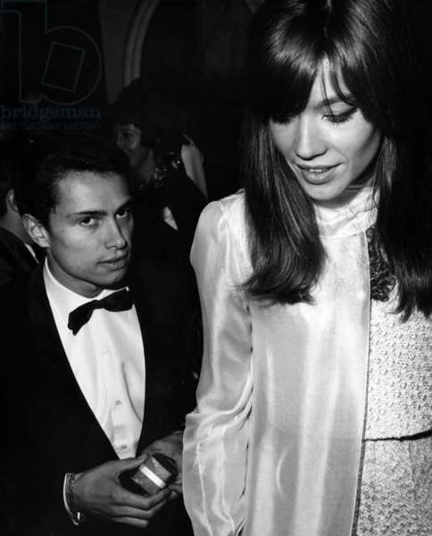 The French Singer, Author and Composer, Francoise Hardy (B.1944) and the Photographer Jean-Marie Perier (B.1940) at The Lido, For The Reception