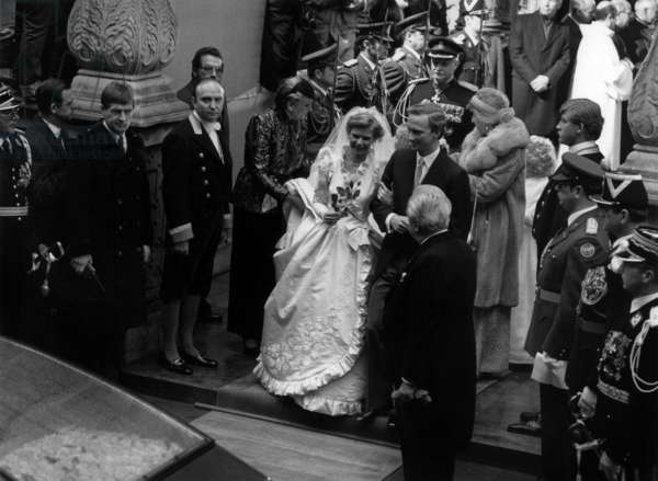 Wedding of princess  Marie Astrid of Luxembourg with archduke Carl-Christian of Austria (Hasbourg) in Luxembourg on february 6, 1982 (b/w photo)