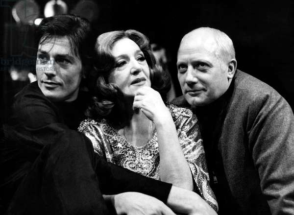 Alain Delon, Marie Bell and Jacques Dacqumine during Rehearsal of Play