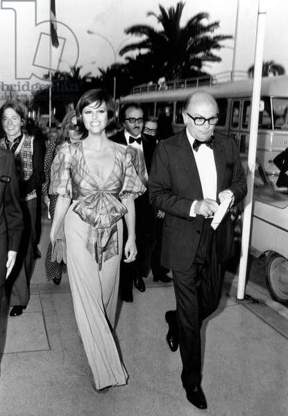 Claudia Cardinale and Director Francesco Rosi at Cannes Film Festival May 12, 1972 (b/w photo)