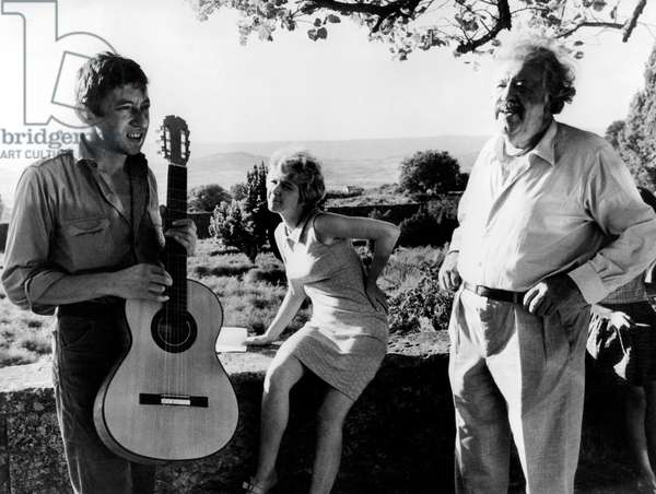 Serge Gainsbourg and Michel Simon With Marie Dubois on Set of Film Je M' Appelle Jericho October 10, 1967 (b/w photo)