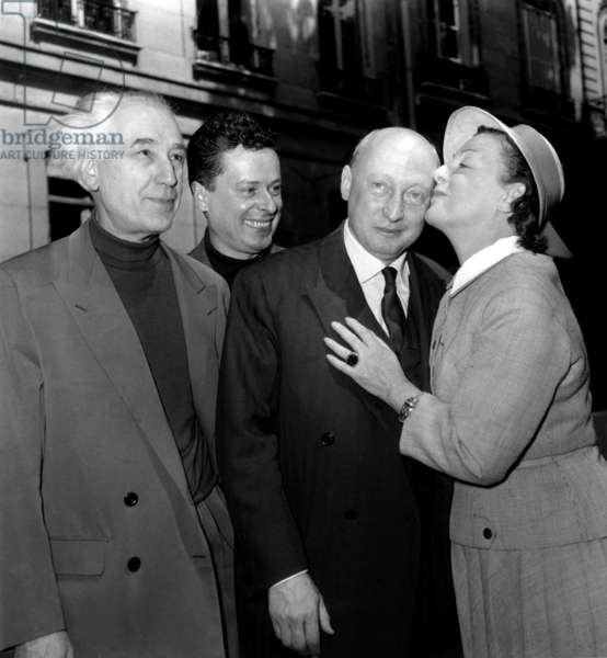 The Grand Prix Du Cinema French A From Left To Right Abel Gauce, Maurice Andre, Jp Lechanois And G Morlan May 19, 1955 (b/w photo)