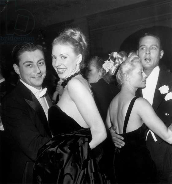 Francois Perier at A Ball at George V Hotel in Paris in 1946-1947 (b/w photo)