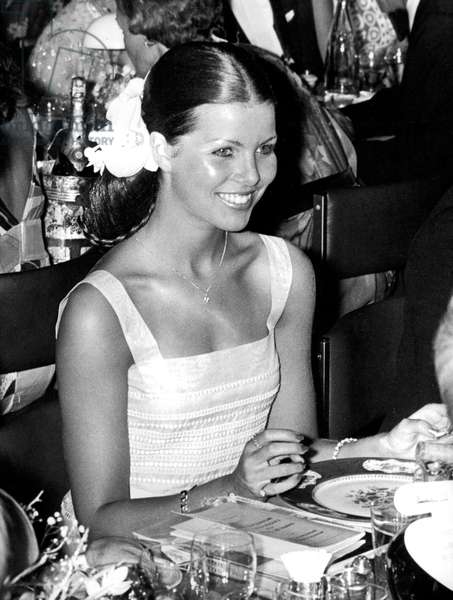 Princess Caroline of Monaco at Red Cross Gala in Monte-Carlo August 12, 1974 (b/w photo)