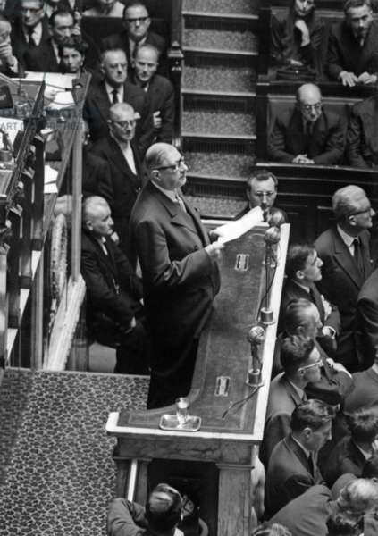 General Charles De Gaulle, New Head of French Government, at The National Assembly For his Investiture June 1St 1958 (b/w photo)