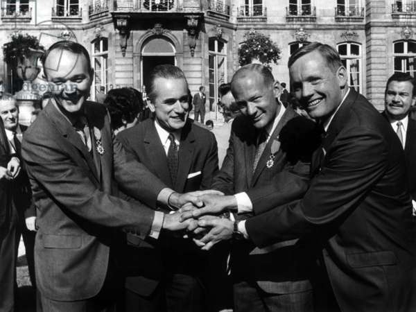 Michael Collins Mr Chaban-Delmas Edwin Aldrin And Neil Armstrong In Matignon October 8, 1969 (b/w photo)