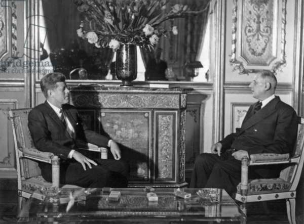 First Talks in Paris here at Elysee Palace Between French President Charles De Gaulle and American President John Kennedy May 31, 1961 (b/w photo)