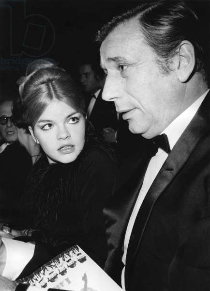 Catherine Allegret and Yves Montand at Premiere of The Film 'Lady L', December 22, 1965 (b/w photo)