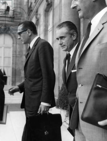 Jacques Chirac, Jacques Chaban Delmas and Raymond Mondon After Council of Ministers at The Elysee Palace in Paris, September 10, 1969 (b/w photo)