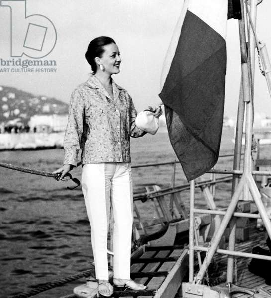 Jeanne Moreau at Cannes Film Festival May 06, 1958 (b/w photo)
