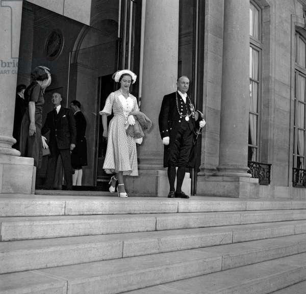 Princess Margaret of England leaving the Elysee, Paris, May 28, 1949 (b/w photo)