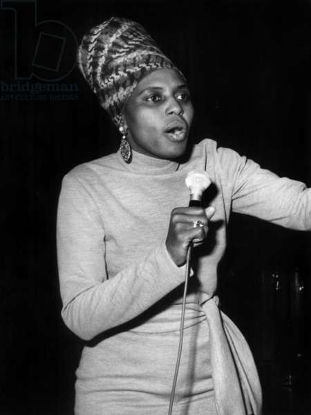 South African Singer Miriam Makeba during Rehearsal of her Concert at The Olympia in Paris on March 19, 1969 (b/w photo)