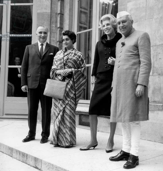 At Matignon Hotel in Paris : Georges Pompidou, French Prime Minister, Indira Gandhi, Mrs Claude Pompidou and Jawaharlal Nehru September 20, 1962 (b/w photo)