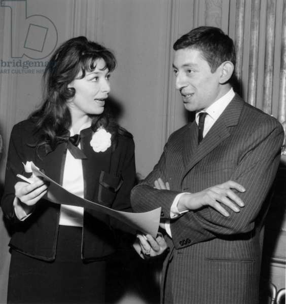 French Singers Juliette Greco and Serge Gainsbourg Winners of Prize of Charles Cros Academy on March 14, 1959 (b/w photo)