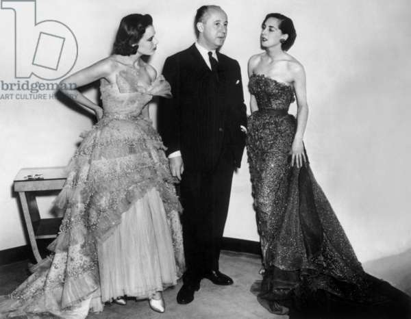 French Couturier Christian Dior and Two Models at The End of The 40'S (b/w photo)