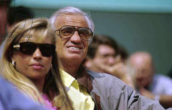 French Actor Jean-Paul Belmondo With Girlfriend at Tennis Tournament in Paris 1991 (photo)