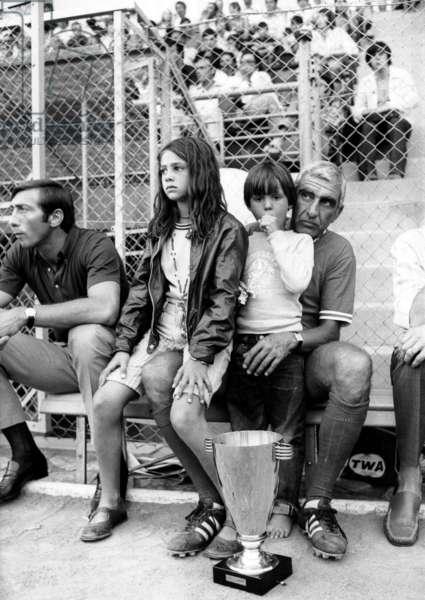 Football Match : Charles Gerard With Children of Jeanpaulbelmondo : Patricia and Paul Belmondo August 17, 1969 (b/w photo)