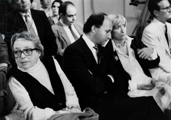 Marguerite Duras, Laurent Fabius and Francoise Sagan during TV Programme