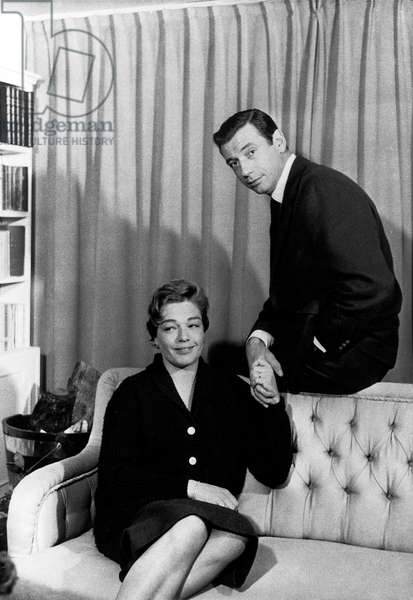 Yves Montand and Simone Signoret at Home in 1957 (b/w photo)