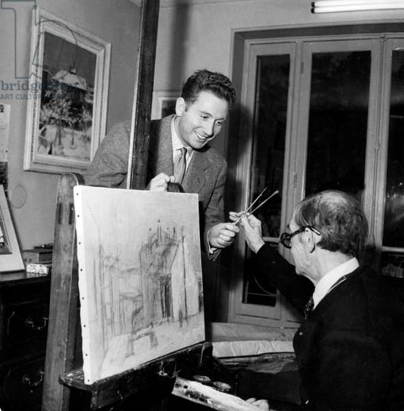 French Singer Charles Trenet and Painter Maurice Utrillo in his Workshop in 1953 (b/w photo)
