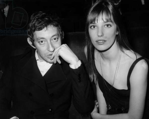 Jane Birkin and Serge Gainsbourg at Premiere of Gilbertbecaud at The Olympia in Paris on February 21, 1969 (b/w photo)