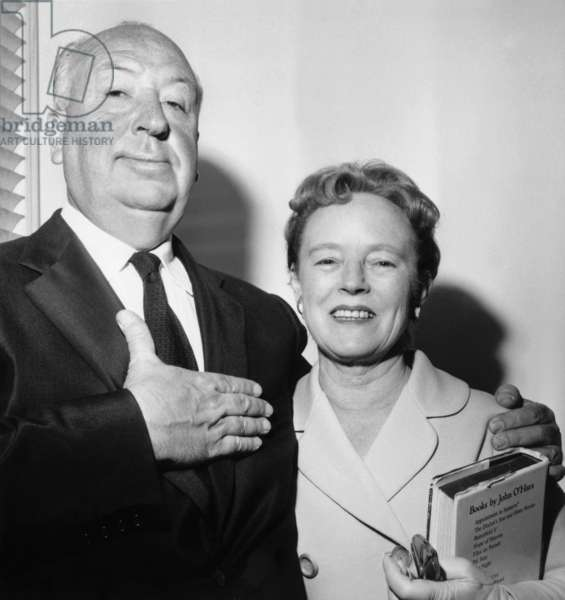 Director Alfred Hitchcock and his Wife Alma Reville in Paris on May 26, 1960 (b/w photo)