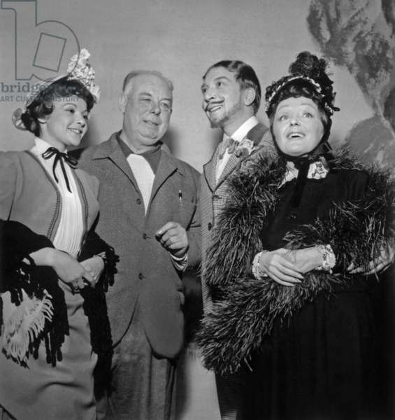 French Actors Francoise Arnoul, Andre Claveau and Edith Piaf With Director Jean Renoir on Set of Film French Cancan December 13, 1954 (b/w photo)