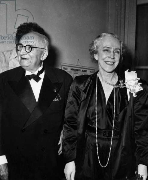 French Writer Paul Claudel Congratulated By Elizabeth of Wittelsbach (Former Queen of Belgium and Former Duchess of Bavaria) After Premiere of Play