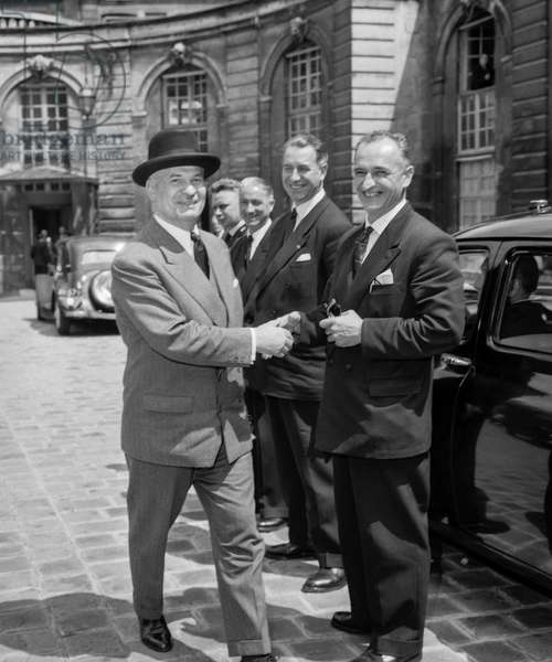 French politician Gaston Palewski at Matignon Hotel in Paris to meet with DeGaulle, June 3, 1958 (b/w photo)
