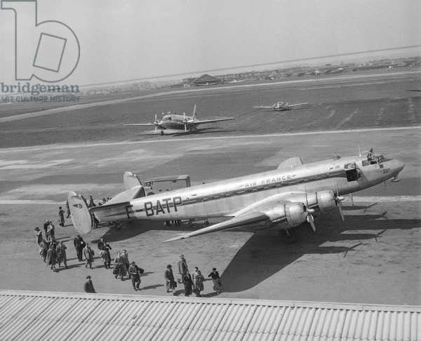 Air France plane at Bourget airport, near Paris, April 7, 1960 (b/w photo)