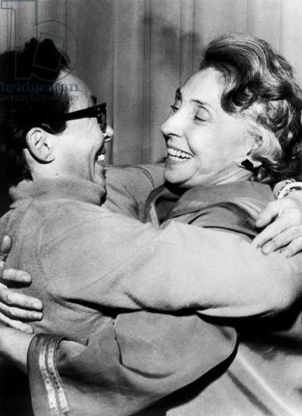 French Writer Marguerite Duras Congratulating Actress Madeleine Renaud during General Rehearsal of her Play
