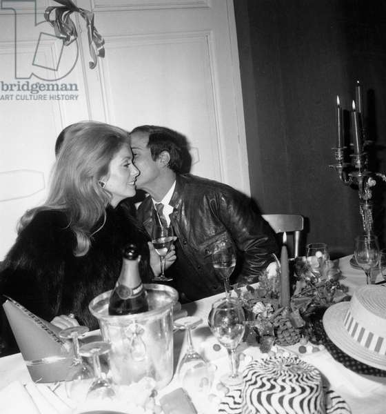 Actress Catherine Deneuve and Film Director Francois Truffaut Having Diner at Negresco Hotel in Nice For New Year Eve December 31, 1968 (b/w photo)