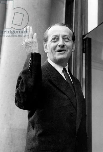French Minister of Cultural Affairs Andre Malraux Before Meeting With French President August 1965 (b/w photo)