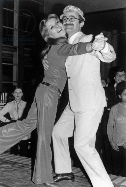 Nicoletta and Marcel Zanini during A Show Organized By Air France at Marignane Airport, France, February 22, 1970 (b/w photo)