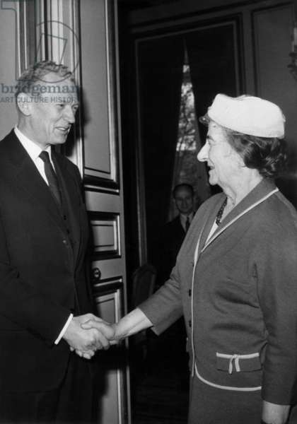 Israeli Minister of Foreign Affairs Golda Meir Visiting her French Counterpart Maurice Couve De Murville in Paris March 16, 1965 (b/w photo)